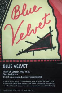 Poster for the screening of Blue Velvet at Tate Modern